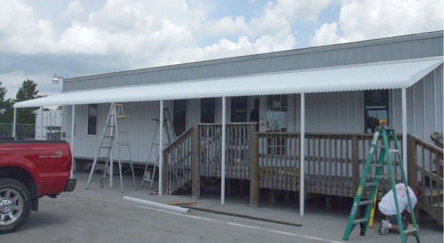 50 foot wide aluminum awning