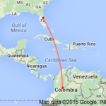 google map orlando to columbia south america