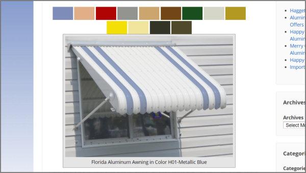 aluminum awning stripe colors demo
