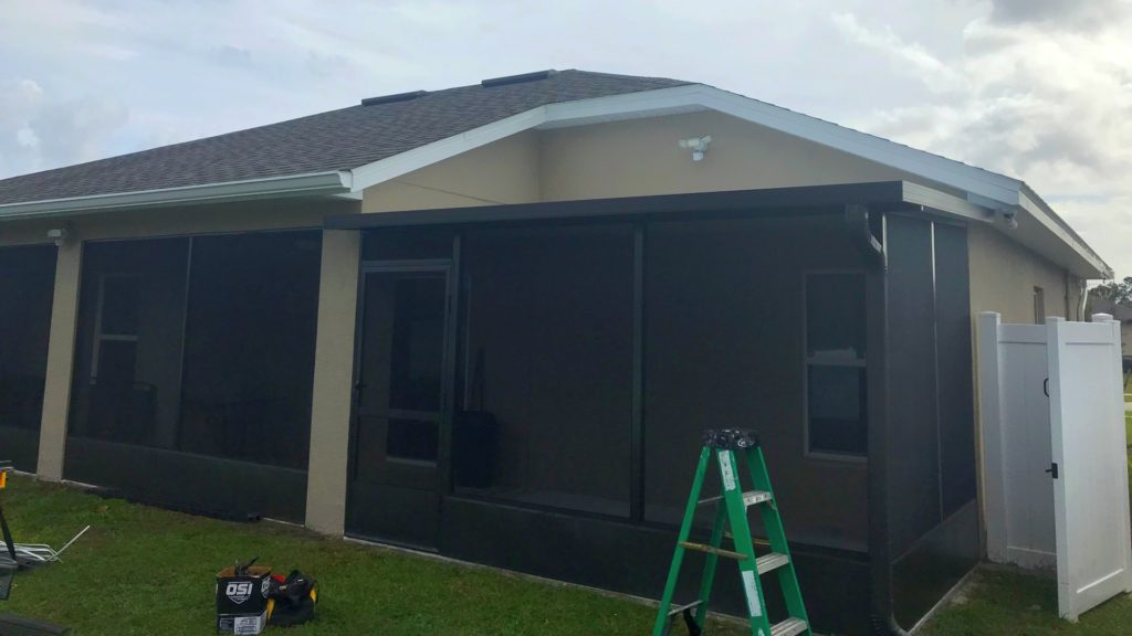 screen room addition and roof