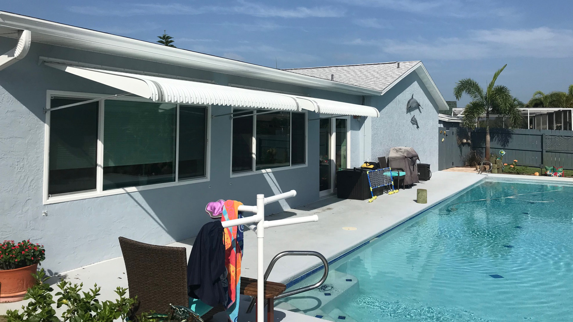 new poolside window aluminum awnings