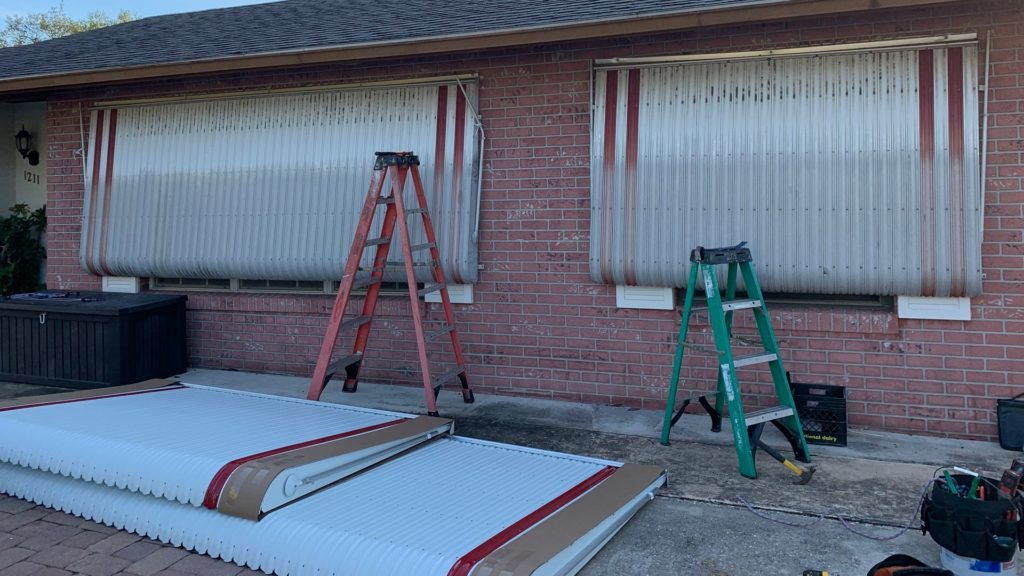replacement awnings project in progress
