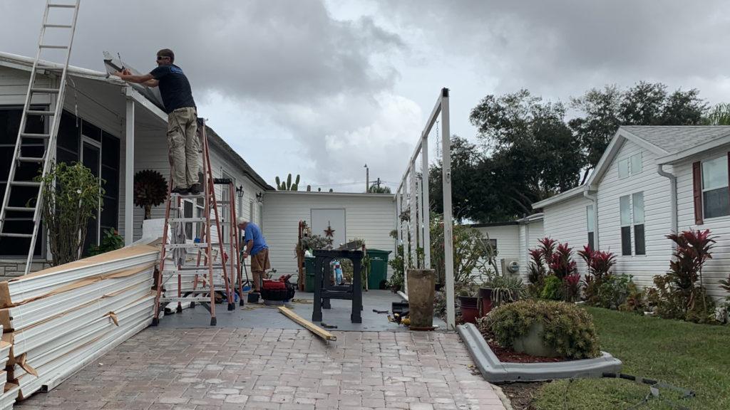 carport roof panel job in progress