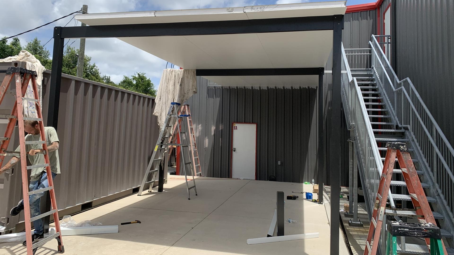 employee lounge custom roof phase two